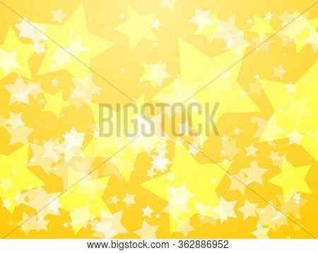 Yellow Glowing Stars Abstract Vector Background. Gold Five Rays Stars Luxury Sunburst Banner Backdro