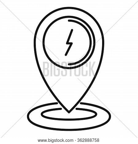 Gps Pin Charging Car Station Icon. Outline Gps Pin Charging Car Station Vector Icon For Web Design I