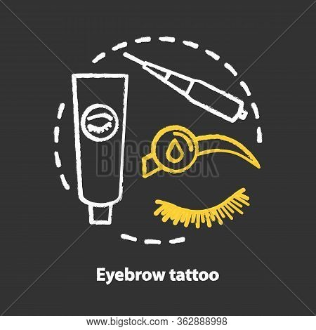Eyebrow Tattoo Chalk Concept Icon. Eye Brows And Eyelashes Correction, Tinting, Permanent Makeup Ide