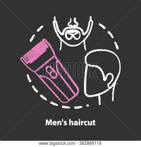 Men Haircut Chalk Concept Icon. Barbershop Idea. Hair Care And Treatment. Barber Shop, Beard Care. H