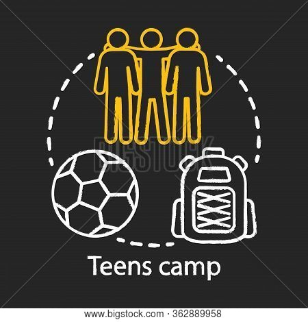 Teens Camp Chalk Concept Icon. Summer Youngster Club, Community. Teenager Holiday Resort. Sports Aft