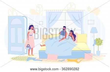 Love Triangle, Wife Catches Husband With Another. Man Lies In Bed With Woman, His Wife Stands In Doo