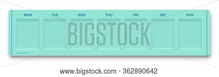 Daily Pill Box, Empty Pill Organizer For Seven Days Of The Week, Top View. Isolated Vector Illustrat
