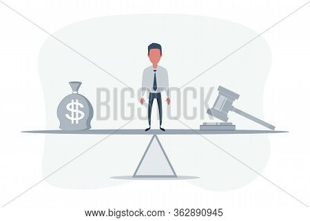 Bag Of Money With A Dollar Sign And A Judges Hammer On The Scales. Concept Lobbying For The Adoption