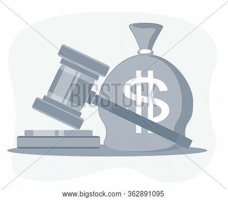 Bag Of Money With A Dollar Sign And A Judges Hammer. Concept Lobbying For The Adoption Of A Law Or A