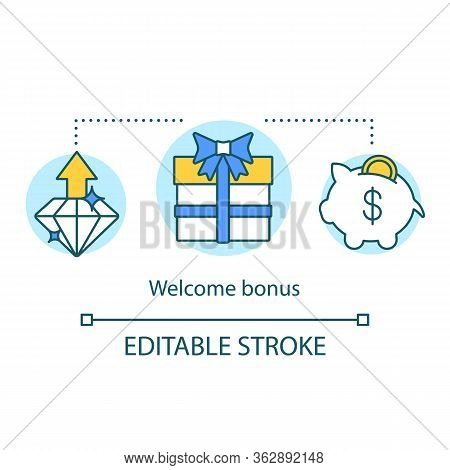 Casino Welcome Bonus Concept Icon. Gift Presents Idea Thin Line Illustration. Redeem Points, Custome