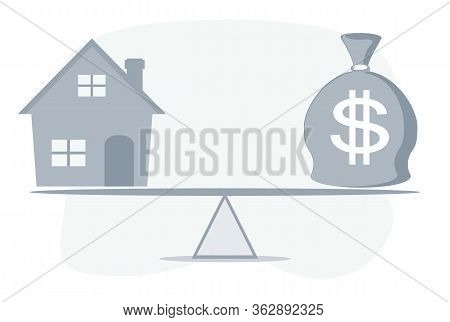 Housing Loan Market Sample Houses And Balance Moneybag On The Seesaw Real Estate Concepts. Stock Fla