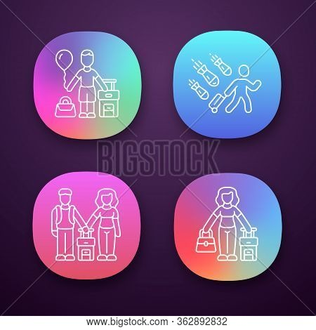 Refugees App Icons Set. Couple, Kid Travel Abroad With Suitcase. Tourist, Traveler, Passenger. Immig
