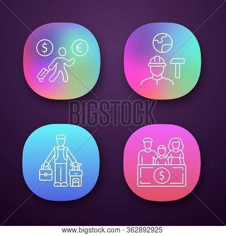 Immigrants App Icons Set. Economic Migrant, Family Sponsorship Immigration. Job For Immigrants. Trav