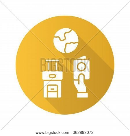 Immigration Yellow Flat Design Long Shadow Glyph Icon. Trip Planning, Holiday Vacation Organization.