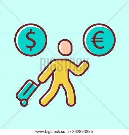 Economic Migrant Yellow Color Icon. Person Searching New Home, Skilled Worker Seeking Better Future.