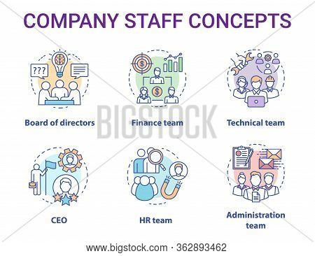 Company Staff Concept Icons Set. Corporate Personnel, Workforce Idea Thin Line Illustrations. Ceo Bo