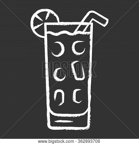 Cocktail In Highball Glass Chalk Icon. Summer Icy Refreshing Soft Drink With Slice Of Lemon And Stra