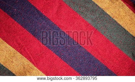 Colorful Fabric Texture Background. Striped Knit Woolen Texture, Fabric Multicolor Background.