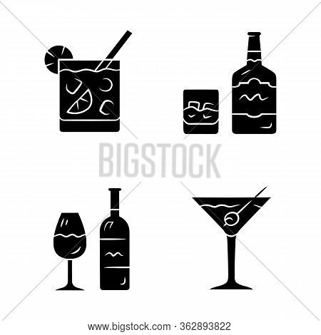 Drinks Glyph Icons Set. Cocktail In Lowball Glass, Whiskey, Wine, Martini. Alcoholic Beverages For P