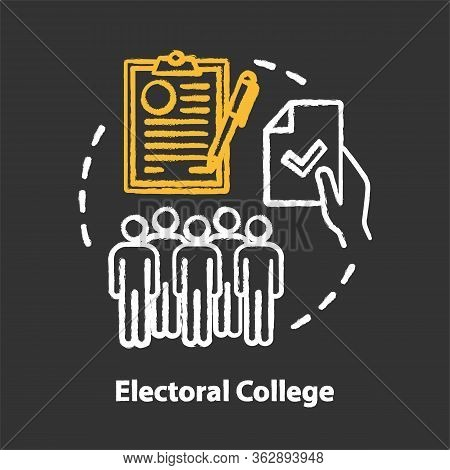 Elections Chalk Concept Icon. Electoral College Idea. Voting, Choosing From Political Candidates, Pa