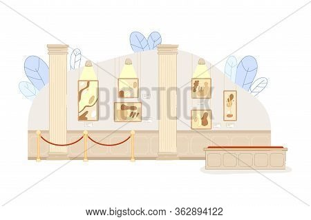 Contemporary Artwork Exposition In Art Gallery Vector Illustration. Inside Empty Museum Room. Classi