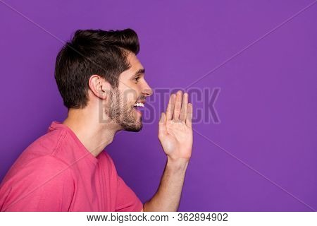 Profile Side Photo Of Positive Surprised Guy Look Copyspace Share Incredible Private Novelty Hand Mo
