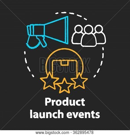Product Launch Events Chalk Concept Icon. New Product Presentation And Release Idea. Marketing, Adve