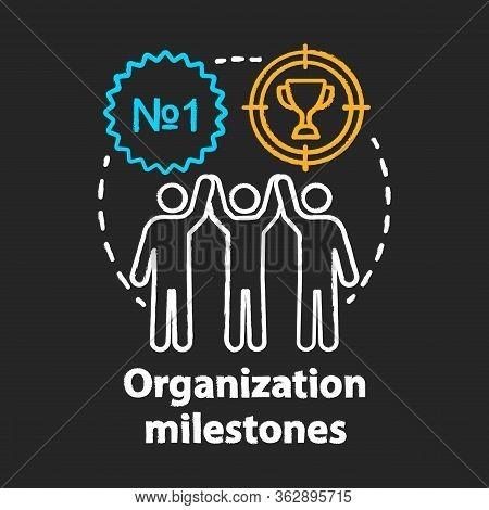 Organization Milestones Celebrating Chalk Concept Icon. Company Goals, Aspirations And Achievements