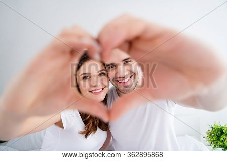 Closeup Blurry Focus Photo Of Adorable Lady Handsome Guy Married Couple Together Overjoyed Hold Hand