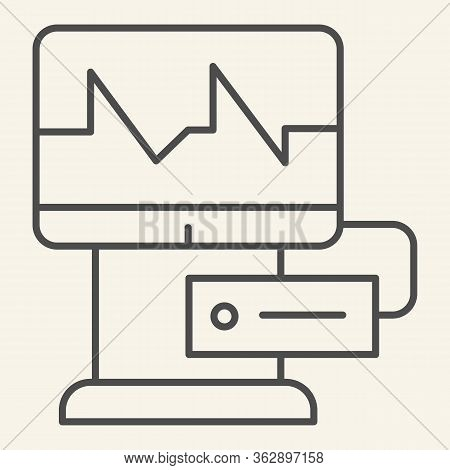 Cardiograph Thin Line Icon. Electrocardiogram On Monitor Outline Style Pictogram On White Background