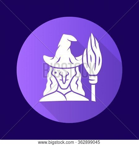 Witch Purple Flat Design Long Shadow Glyph Icon. Wicked Sorceress, Hag With Broomstick. Halloween Co