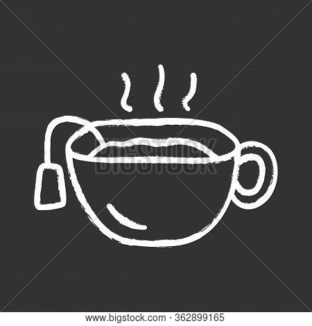 Hot Tea Cup Chalk Icon. Mug With Warm Delicious Beverage Isolated Vector Chalkboard Illustration. Te