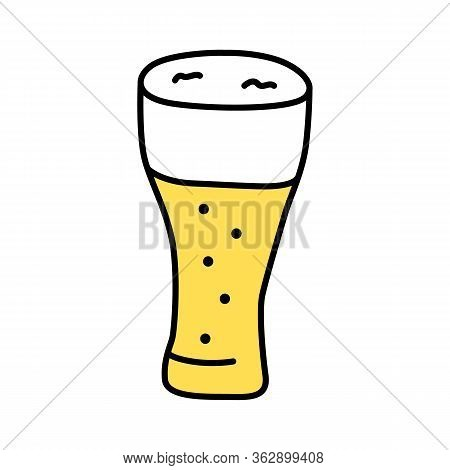 Light Beer Glass With Froth Yellow Color Icon. Traditional Alcohol Beverage, Foamy Ale, Lager Pint I