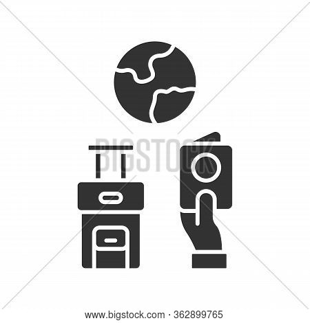 Immigration Glyph Icon. Trip Planning, Holiday Vacation Organization. Travelling Abroad. Packed Bagg