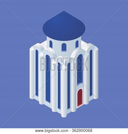 Isometric Cathedral Church Isolated On Blue Background.