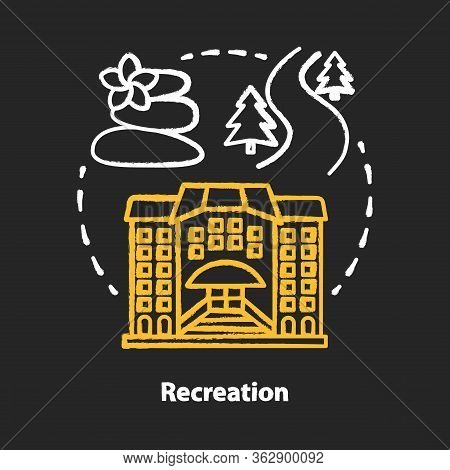 Recreation Chalk Concept Icon. Urban And Outdoors Recreation Services Idea. Active Rest, Cultural Ac