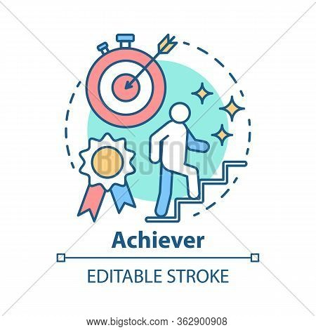 Achiever Concept Icon. Successful Person Idea Thin Line Illustration. Goal Achieving, Winner. Reachi