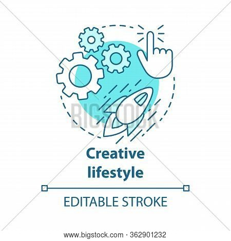 Creative Lifestyle Blue Concept Icon. Brainstorming Idea Thin Line Illustration. Imagination And Ori