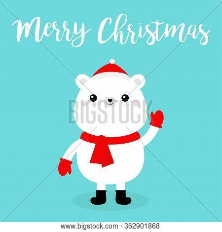 Merry Christmas. Polar White Bear Cub Face In Red Santa Hat, Scarf, Mittens. Cute Cartoon Kawaii Fun
