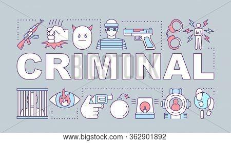 Criminal Word Concepts Banner. Committing Crime. Terrorist Attack. Robber, Housebreaker. Presentatio