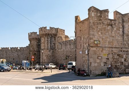 Rhodes, Greece - May 13, 2018: Medieval Walls Surrounding The Old City Of Rhodes.
