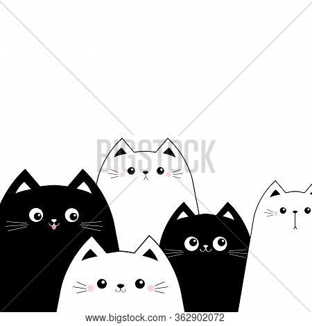 Black White Cat Head Face Set. Scandinavian Style. Cute Cartoon Funny Baby Pet Character. Greeting C