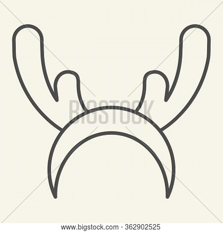 Deer Horns Cloth Thin Line Icon. Reindeer Mask Outline Style Pictogram On White Background. Funny Ch