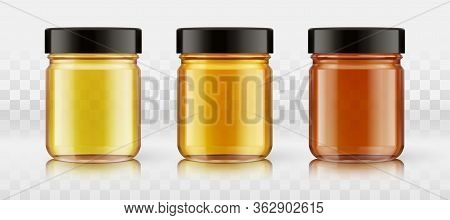 A Set Of Yellow, Orange, Red Glass Bottles For Any Liquid Products, Honey, Confiture, Jams, Preserve