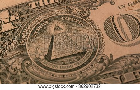 One Dollar Bills From Usa Closeup Showing All Seeing Eye