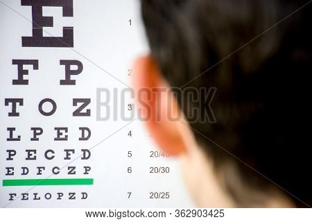 Check Visual Acuity Or Ophthalmologist Or Optometrist Visit Concept Photo. Table For Testing Visual