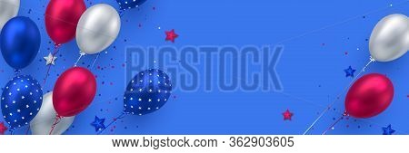 Glossy Balloons In Colors Of American Flag With Confetti. Background For 4th Of July Independence Da
