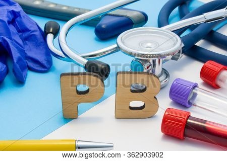 Pb Medical Lab Acronym, Meaning Lead Or Plumbum In Human Body. Letters That Make Word Of Pb, Located