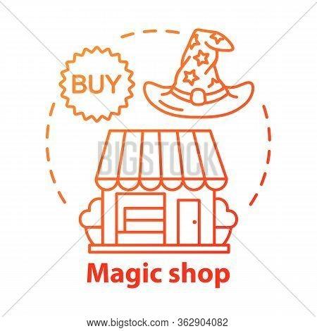 Magic Shop Concept Icon. Witchcraft Accessories Sale Idea Thin Line Illustration. Esoteric Souvenirs