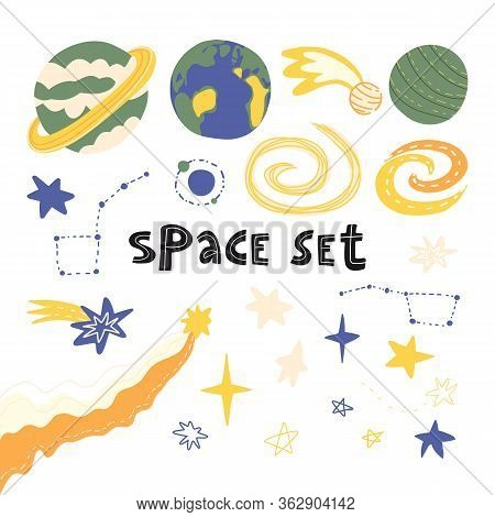 Hand Drawn Space Set With Various Planets - Earth, Uranus, Saturn, Stars Constellations The Big Dipp