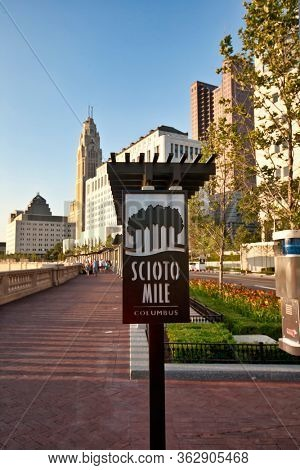COLUMBUS, OHIO/USA - JULY10, 2011:  The Scioto Mile in Columbus Ohio is a downtown waterfront park and premiere travel destination in this capital city
