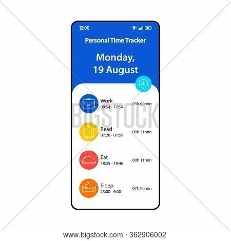 Personal Time Tracking App Smartphone Interface Vector Template. Mobile Page Design Layout. Time Tra