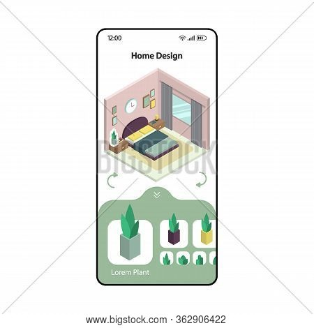 Home Design And Remodeling App Smartphone Interface Vector Template. Mobile Page Modern Design Layou