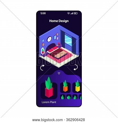 Home 3d Design App Smartphone Interface Vector Template. Mobile Page Modern Layout. Interior Design